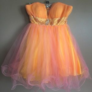 May Queen strapless pink/orange cocktail dress 6